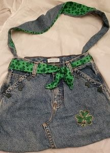 Handbags - One of a kind St. Patty's Day/Clover jean purse